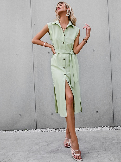 fashion solid color lapel single breasted long dress NHDE352658's discount tags