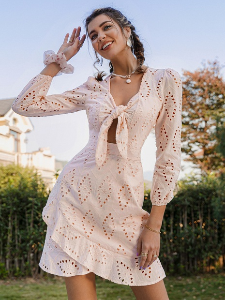 fashion v-neck chest knot long sleeve ruffle dress NHDE352661's discount tags