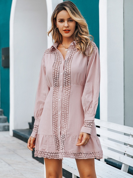 fashion lapel single breasted long sleeve short shirt dress NHDE352663's discount tags