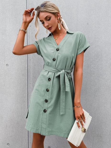 fashion lapel single breasted waist lace-up short sleeve dress NHDE352664's discount tags