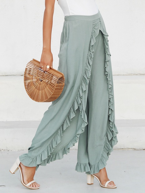 fashion loose high waist ruffle solid color pants NHDE352666's discount tags