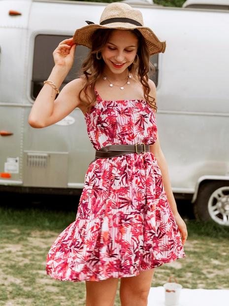 robe imprimée taille haute sans manches à la mode NHDE352667's discount tags
