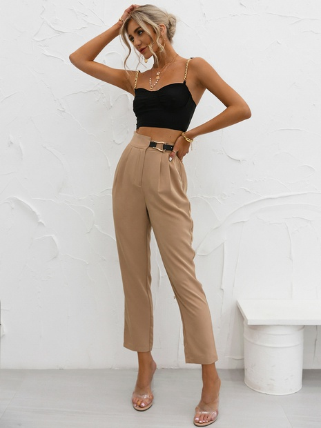 fashion high waist solid color  pants NHDE352669's discount tags