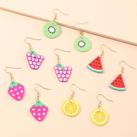 boucles d'oreilles mode fruits rose vif pastèque fraise NHNU352777's discount tags
