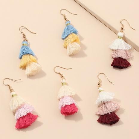 boucles d'oreilles à pampilles en peluche de couleur dégradé de style ethnique NHNU352772's discount tags