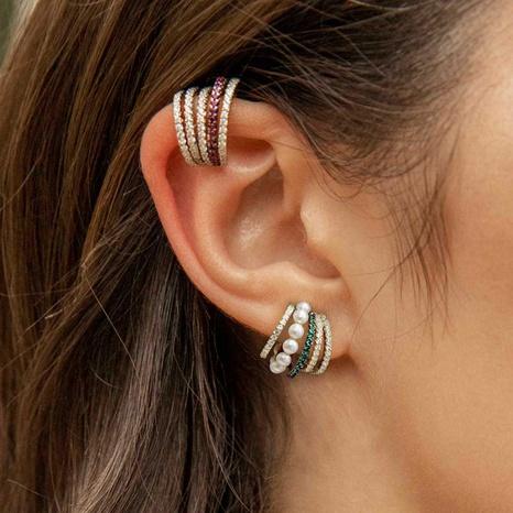 Clips d'oreille creux multicouches en diamant coloré à la mode NHAYN352842's discount tags