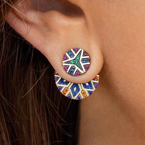 boucles d'oreilles diamant rond asymétriques de style national NHAYN352843's discount tags