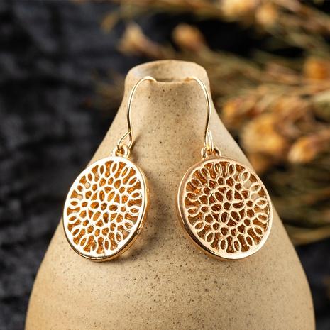 Boucles d'oreilles en alliage de fleurs creuses rondes à la mode NHAKJ352851's discount tags