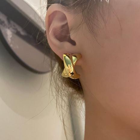 boucles d'oreilles demi-cercle rétro en forme de croix en or plaqué NHYQ353008's discount tags