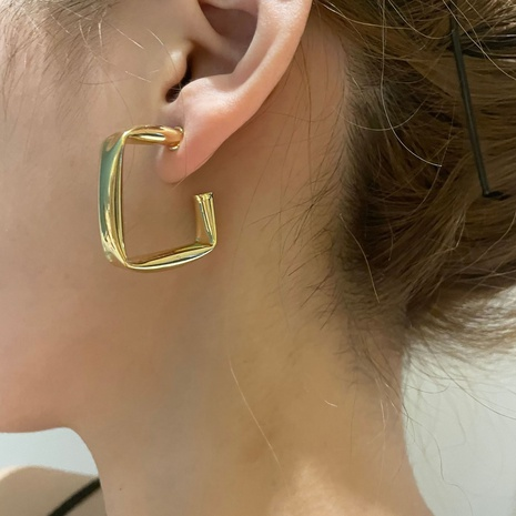 boucles d'oreilles carrées en métal de mode en gros NHYQ353011's discount tags