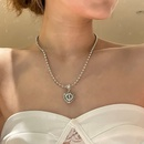 Korean hollow flashing diamond heart round bead chain necklace NHYQ353012
