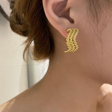 Boucles d'oreilles à enroulement de vague de texture en métal plaqué or de mode NHYQ353016's discount tags