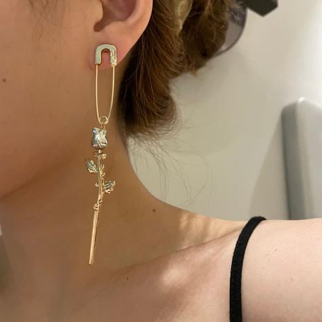 Boucles d'oreilles en métal à broche géométrique de style coréen avec fleur rose NHYQ353017's discount tags