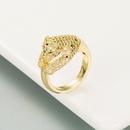 fashion threedimensional leopard copper goldplated zircon open ring  NHLN353053