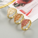 fashion copper goldplated microinlaid zircon lip opening couple ring  NHLN353054