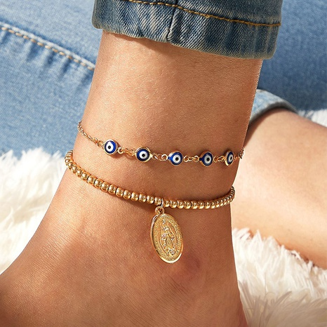 simple style angel pendant blue chain combination anklet NHAJ353483's discount tags