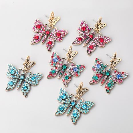 Boucles d'oreilles papillon en alliage multicouche diamant couleur mode NHJE353059's discount tags