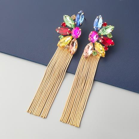 boucles d'oreilles en alliage de mode diamant fleur longues pompon NHJE353069's discount tags