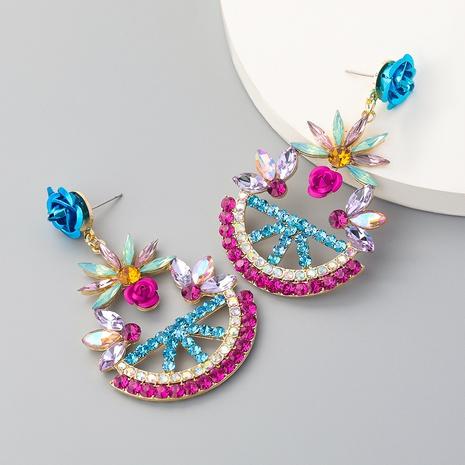 Boucles d'oreilles fleur rose bleue NHJE353070's discount tags