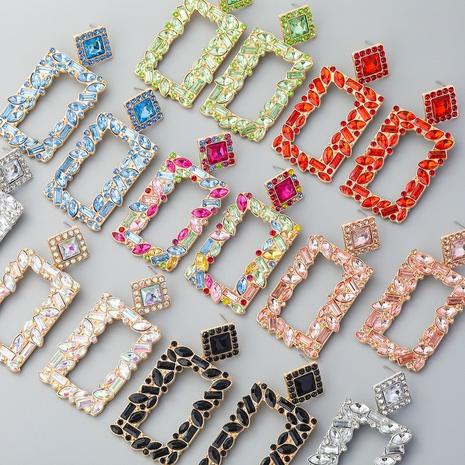 boucles d'oreilles géométriques en diamant de couleur rectangulaire en alliage de mode NHJE353071's discount tags