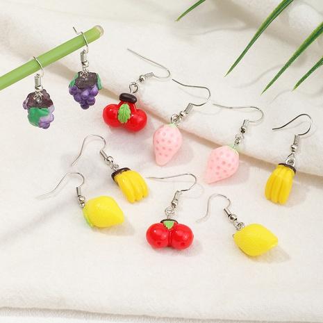 Boucle d'oreille à la mode en résine fraise et cerise NHNZ353091's discount tags