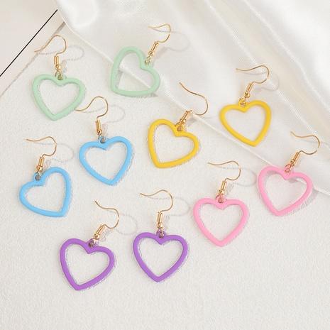 boucles d'oreilles simples en forme de coeur de couleur unie en gros NHNZ353093's discount tags