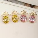 Fashion Pineapple Flash Diamond Fruit Earrings   NHNZ353095