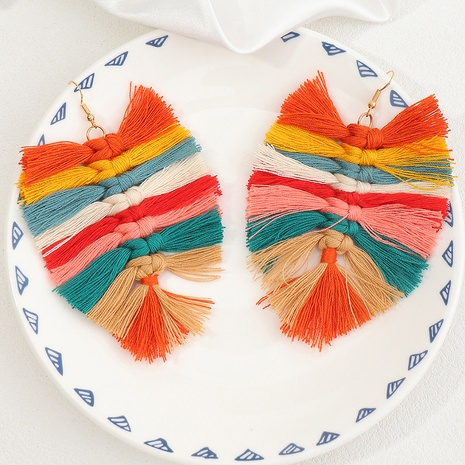 Boucles d'oreilles pompon feuille de tissage à la main bohème NHNZ353098's discount tags