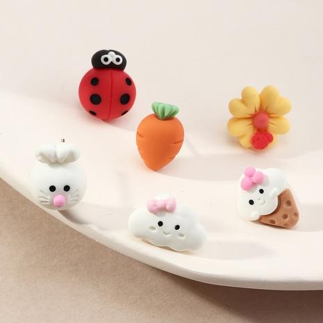 Ensemble de boucles d'oreilles dessin animé lapin coccinelle résine carotte fleur NHNZ353103's discount tags