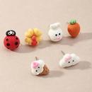 Cartoon Bunny Ladybug Resin Carrot Flower Earring Set NHNZ353103