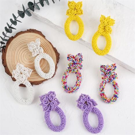 Bohemian geometric woven flower rice bead earrings  NHLA353116's discount tags
