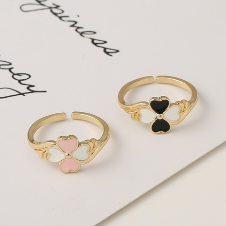 fashion new style copper micro-inlaid dripping oil flower open ring NHBU353169's discount tags