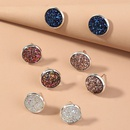 Korean style resin simple round colorful crystal cluster earrings foursets  NHAN353242