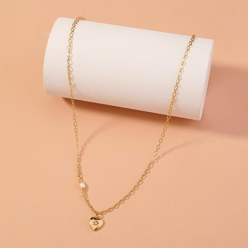 fashion heart diamond pendant bead necklace  NHAN353276