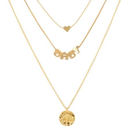 Mode Brief Metall Baum des Lebens runde Anhänger mehrschichtige Halskette NHAN353301's discount tags