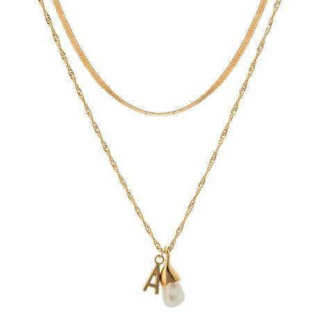 Mode speziell geformte Perle Brief Anhänger mehrschichtige Halskette NHAN353302's discount tags