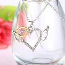 fashion twocolor alloy diamond angel wings heart pendant necklace  NHAN353312