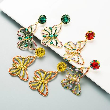 boucles d'oreilles pendantes papillon strass couleur mode NHLN353318's discount tags