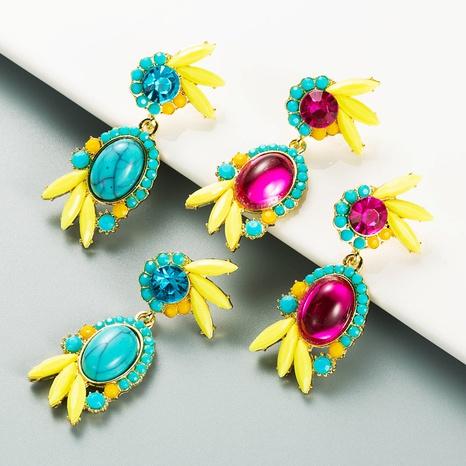 boucles d'oreilles rétro en alliage de fleurs géométriques en résine sertie de diamants NHLN353320's discount tags