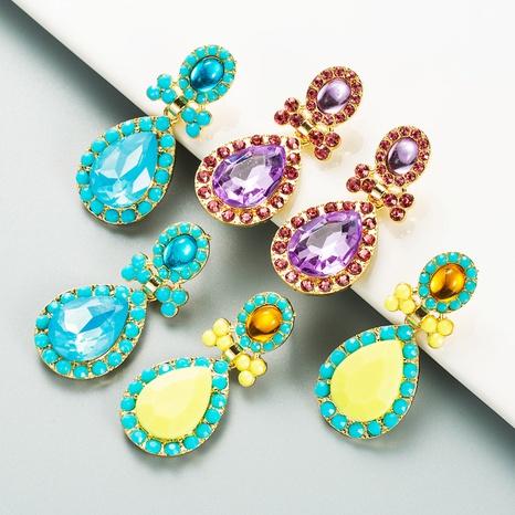 Boucles d'oreilles pendantes en strass de couleur en forme de goutte incrustées d'alliage de mode NHLN353321's discount tags