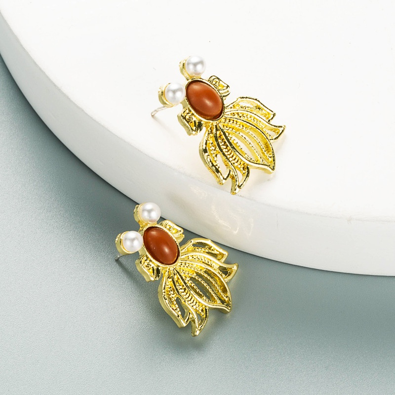 fashion alloy inlaid pearl insect shape earrings  NHLN353322