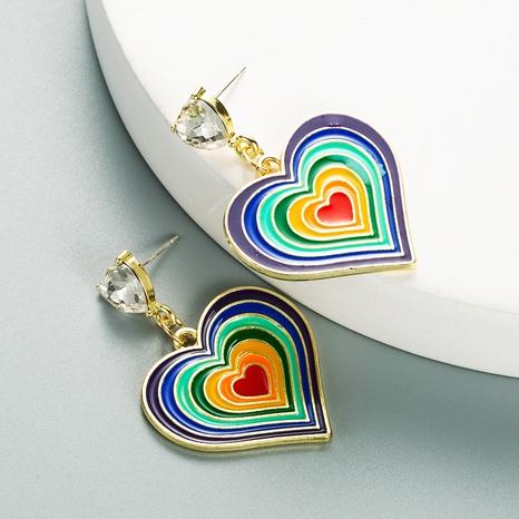 Boucles d'oreilles en strass en forme de coeur dégoulinant de couleur rétro créative en alliage NHLN353323's discount tags