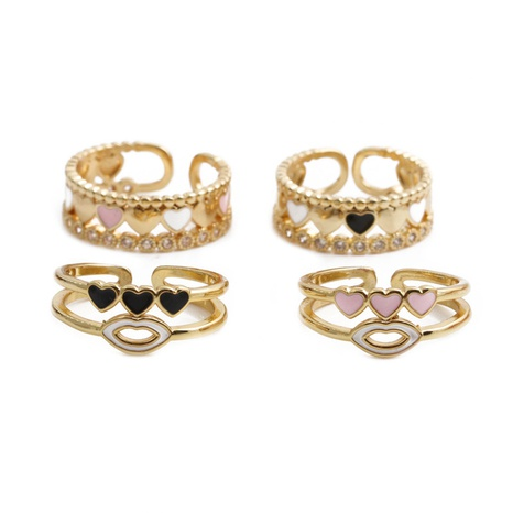 fashion copper gold-plated heart dripping oil open adjustable ring NHYL353384's discount tags