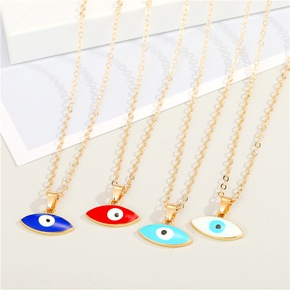 retro style two-head pointed alloy color devil eye pendant necklace  NHGO353392
