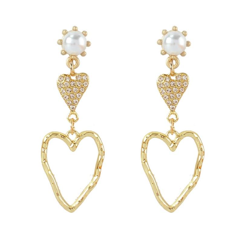 retro alloy inlaid pearl diamond heartshaped earrings  NHCT353413