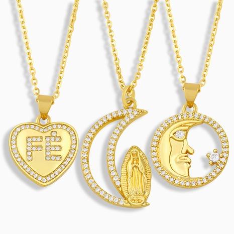 Mode Herz Brief Mond Porträt Anhänger eingelegte Zirkon Halskette NHAS353460's discount tags