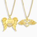 Korean Wings Heart Pendant Copper Zircon Necklace NHAS353462