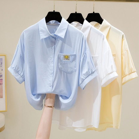 fashion lapel smiley face printed short-sleeved loose shirt NHZN354797's discount tags