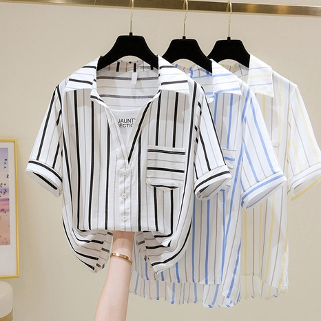 fashion style new loose casual short-sleeved vertical stripes shirt  NHZN354795's discount tags