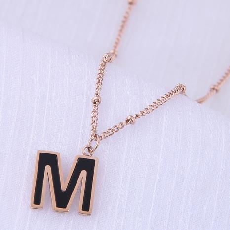 Korean Fashion Sweet Concise M Letter Titanium Steel Necklace NHSC354786's discount tags